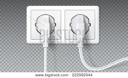 Electric plugs in socket. Realistic white plugs inserted in electrical outlet, isolated on transparent. Icon of device for connecting electrical appliances, equipment. Vector 3D illustration.