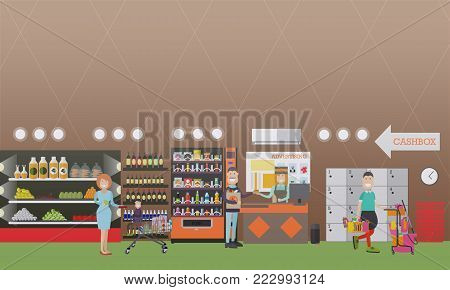 Vector illustration of grocery store interior with cashier female and buyers mother with her kid and man paying for purchases by credit card. People making purchases concept. Flat style design.