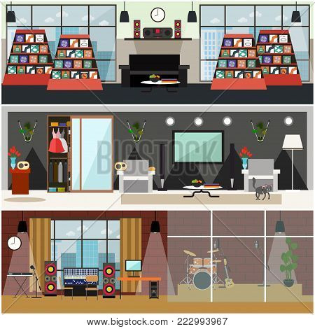 Vector set of posters with music shop, living room and radio studio interior. Radio broadcast concept, flat style design.