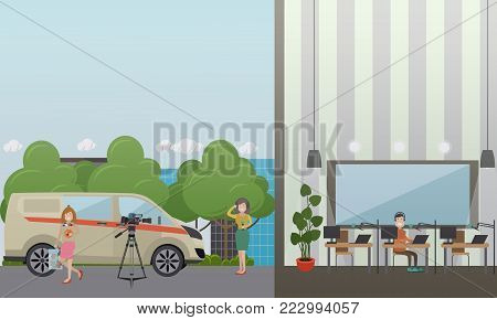 Vector illustration of radio broadcast journalist female in headphones holding microphone, radio dj male in headphones working in front of microphone and computer at radio studio. Flat style design.