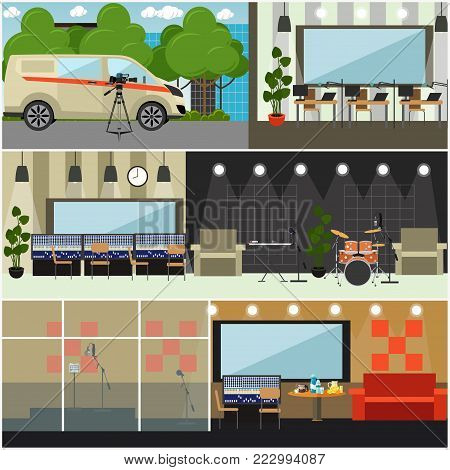 Vector set of posters with radio studio interior with furniture and recording equipment. Radio broadcast concept, flat style design.
