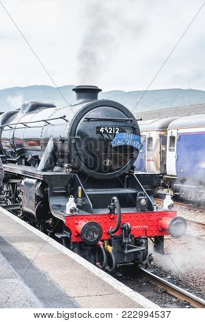 Fort William, United Kingdom. 21 June 2017 : Jacobite Steam Train Locomotive At Fort William Station