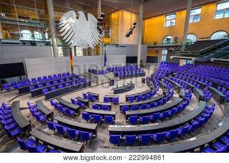 BERLIN, GERMANY - jenuary 5 2018: Interior of Plenary Hall meeting room of German Parliament Deutscher Bundestag. Building and Meeting room available for public between plenary sessions