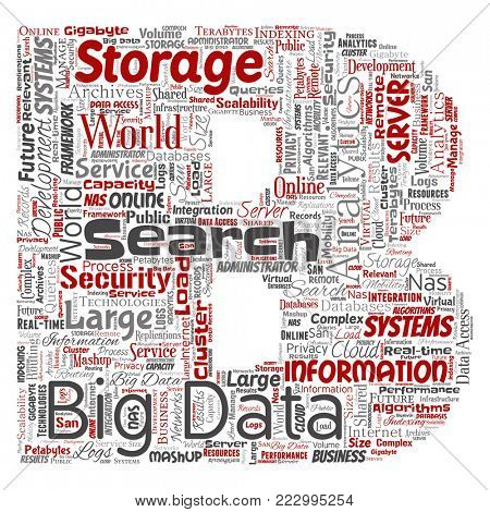 Conceptual big data large size storage systems letter font B word cloud isolated background. Collage of search analytics world information, nas development, future internet mobility concept