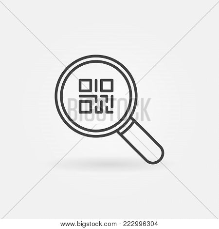 QR code in magnifying glass icon or symbol in thin line style