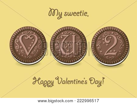 Love you too. Chocolate cookies with graceful decor. Heart, letter U and number 2. My sweetie, Happy Valentines Day. Vector Illustration