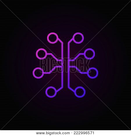 Technology brain colorful concept icon - vector outline human brain as electronic circuit symbol on dark background