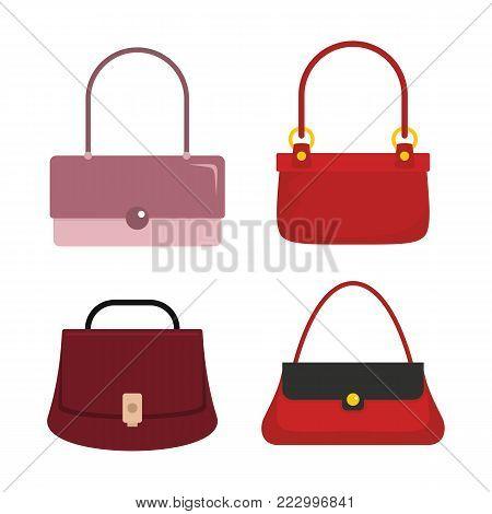 Colourful flat ladies handbags, woman accessories vector collection. Handbag luxury, accessory bag female vector illustration