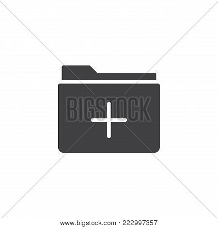 Add folder icon vector, filled flat sign, solid pictogram isolated on white. Folder plus symbol, logo illustration.