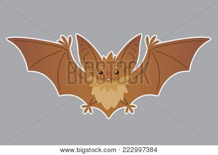 Bat flying. Vector illustration of bat-eared brown creature with outstretched wings in flat style with silhouette syblayer. Sticker. Element for your design, print. Cute Halloween bat vampire icon