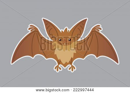 Bat animal. Vector illustration of bat-eared brown creature in flat style with silhouette syblayer. Sticker. Element for your design, print, artwork. Cute Halloween bat vampire icon
