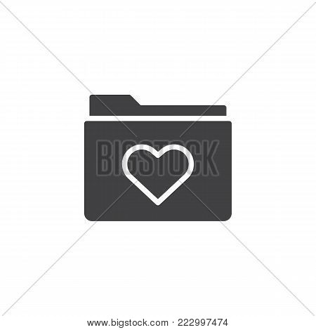 Love favorite folder icon vector, filled flat sign, solid pictogram isolated on white. Heart on folder symbol, logo illustration.