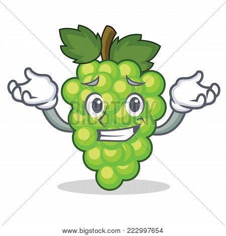 Grinning green grapes character cartoon vector illustration