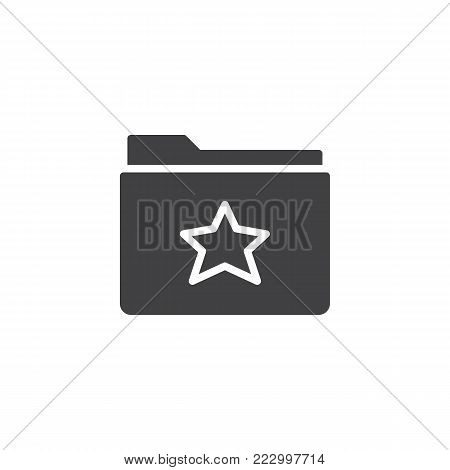 Favorite folder icon vector, filled flat sign, solid pictogram isolated on white. Symbol, logo illustration.