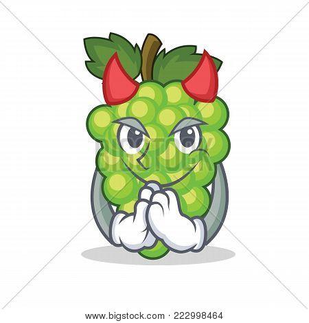 Devil green grapes mascot cartoon vector illustration