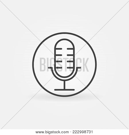 Microphone in circle simple vector mic icon or symbol