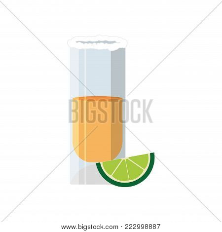 Tequila shot of alcohol drink and glass theme Isolated design Vector illustration