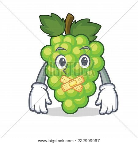 Silent green grapes mascot cartoon vector illustration