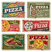 Vintage pizza metal signs with grunge texture vector set. Retro food posters in 50s style. Banner pizza food grunge style, poster vintage for restaurant pizzeria illustration poster