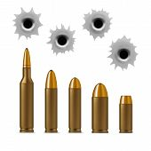 Realistic Detailed 3d Bullets and Bullet Holes Set Weapon Gun Isolated on White Background Different Caliber. Vector illustration poster