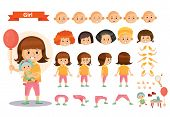 Girl kid playing games and toys vector cartoon child character constructor isolated icons of body parts and face emotions. Construction set for create a young girl child playing doll poster