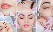 Collage Rejuvenating facial injections procedure for tightening and smoothing wrinkles on the face skin of a beautiful, young woman in a beauty salon.Cosmetology skin care. poster