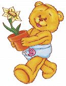 a happy cuddly bear carrying a pot of flower poster