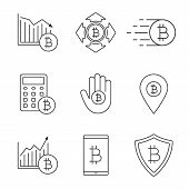 Bitcoin linear icons set. Cryptocurrency. Thin line contour symbol. Bitcoin rising and falling, spending, safe payment, calculations, ATM location, digital wallet. Isolated vector outline illustration poster