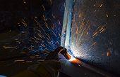 welder, craftsman, erecting technical steel Industrial steel welder in factory technical, poster