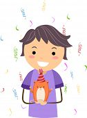 Illustration of a Kid Celebrating the Birthday of His Pet Hamster poster