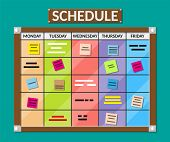 Bulletin board full of tasks on sticky note cards. Development, team work, agenda, schedule, to do list. Vector illustration in flat style poster