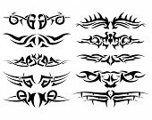 Patterns of tribal tattoos. Collection with ten pieces poster