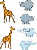 Giraffes elephants and rhinoceros - illustrated cartoon poster
