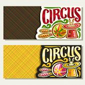 Vector banners for Circus with copy space, original brush font for title circus, 2 tickets for cirque performance with juggling clubs and ball, circus rabbit in magic top hat on abstract background. poster
