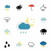 Precipitation icon set.Can be used for topics like rain, weather, forecast, meteorology poster
