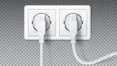 Electric plugs in socket. Realistic white plugs inserted in electrical outlet, isolated on transparent. Icon of device for connecting electrical appliances, equipment. Vector 3D illustration. poster