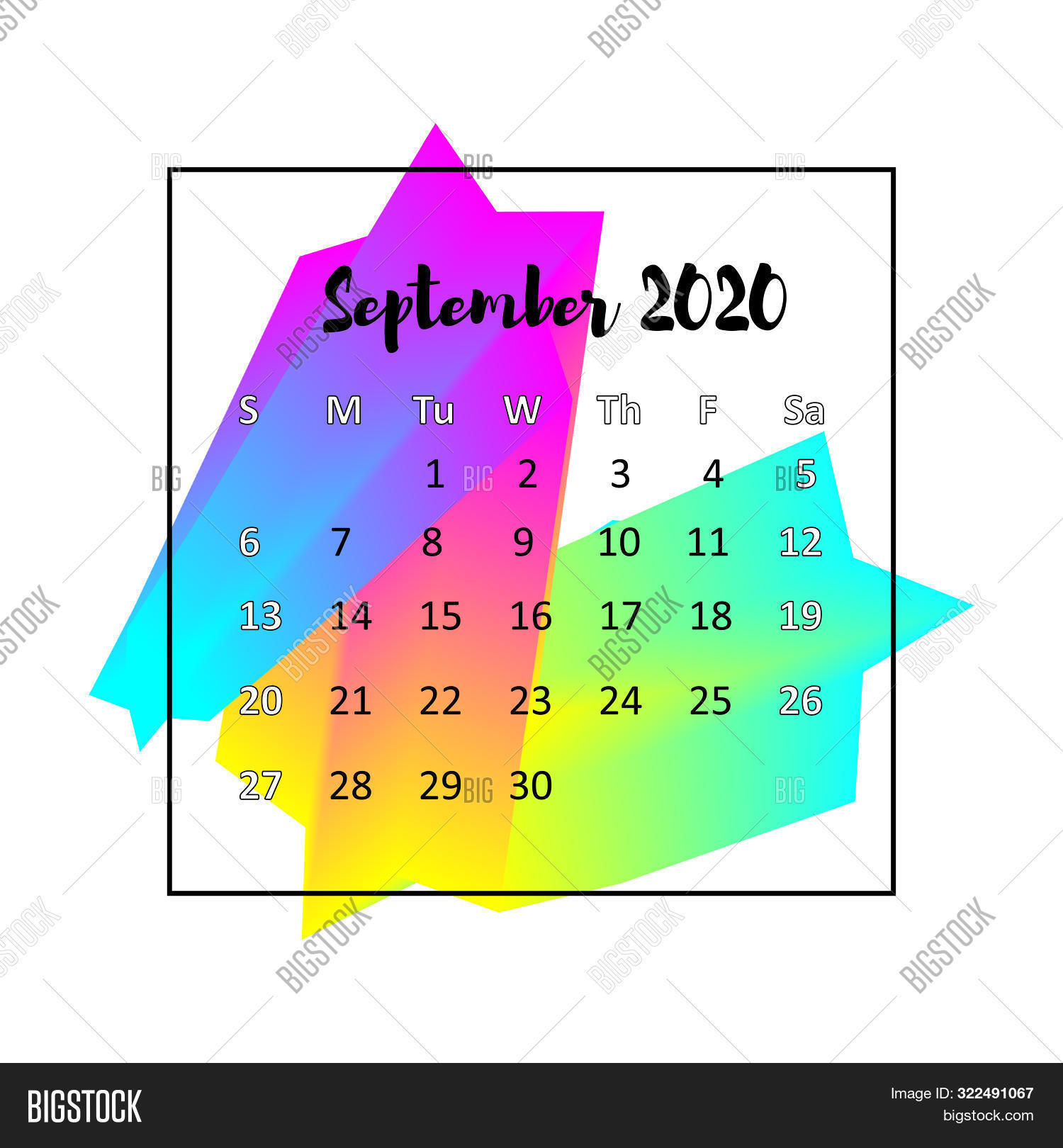 2020 Calendar Design Abstract Concept. September 2020. Business Wall Or Web Calender Template. Minim