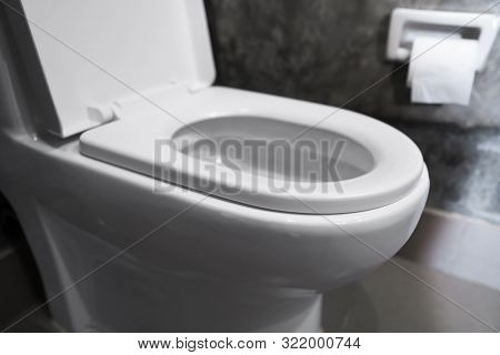White Hanging Toilet Seat On White Toilet In The Home Bathroom With Grey Tiles In Concrete Style And