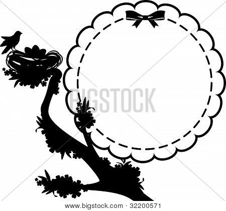 Birds in nest with eggs vector. Easter card