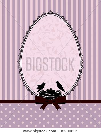 Eggs and birds on a background of lace ornaments vector