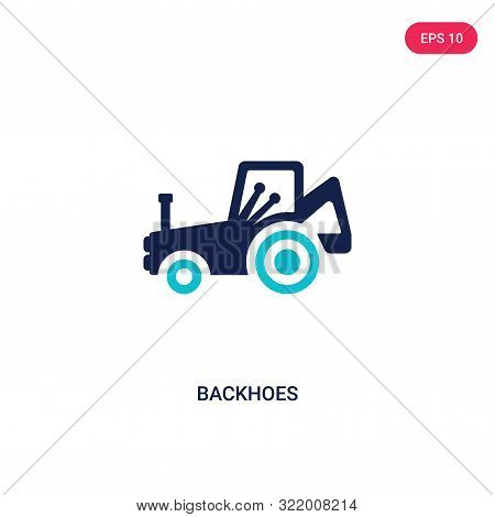 backhoes icon in two color design style.