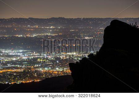 Predawn San Fernando Valley view from the Santa Susana Mountains in Los Angeles, California.