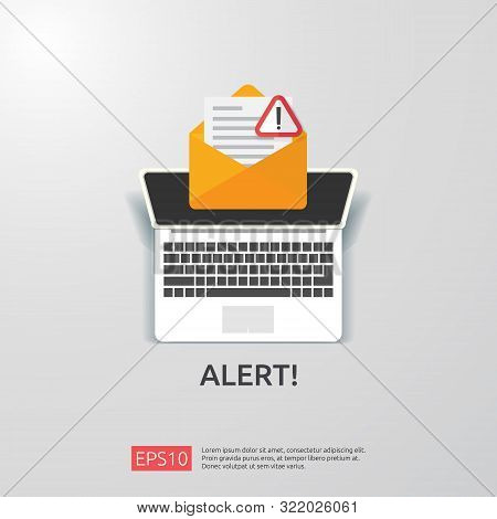 Email Envelope Attention Warning Attacker Alert Sign With Exclamation Mark. Internet Danger Concept.