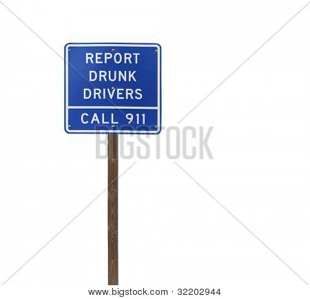 Tall isolated report drunk drivers on a wooden post.