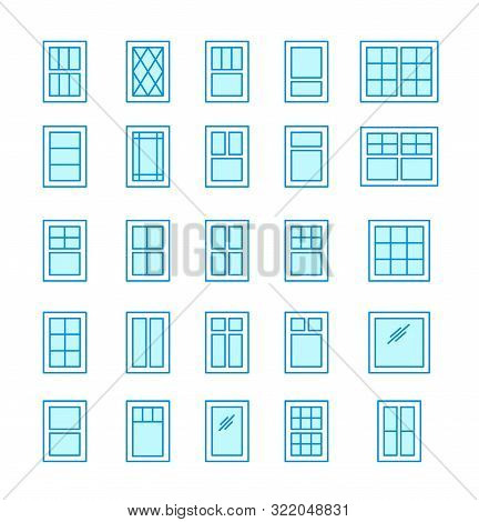 Casement & Awning Windows. Architecture Elements. Line Flat Icons Isolated On White Background. Trad