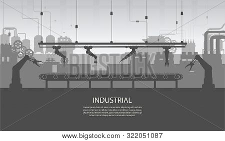 Industrial Banner With Silhouette Factory Interior With Machine And Conveyor Belt Flat Design Vector