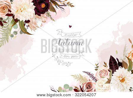Moody Boho Chic Wedding Vector Design Frame. Warm Fall And Winter Tones. Orange, Taupe, Burgundy, Br