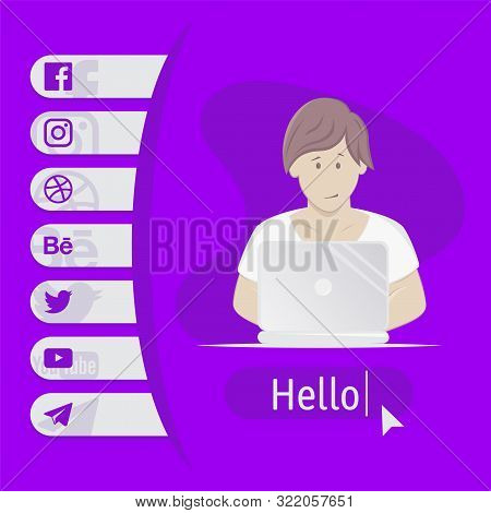 User Contacts. Social Icons. Boy Sitting At Table With Laptop