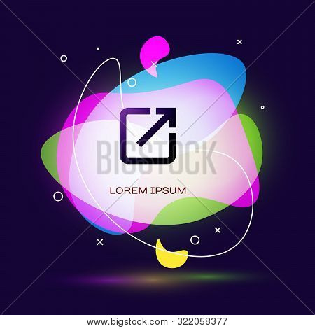 Black Open In New Window Icon Isolated On Dark Blue Background. Open Another Tab Button Sign. Browse
