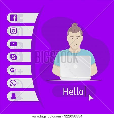 User Contacts. Social Icons. Man Sitting At Table With Laptop